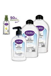 Beyaz Sabun Kokulu Sıvı Sabun 1,5+1,5+300ml Ve 50ml Kolonya Hediyeli