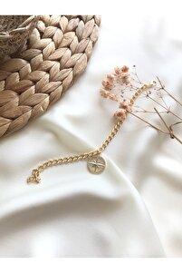 14k Gold Sarı Altın Kaplama Zirkon Taşlı Pusula Figür Sallantılı Bileklik