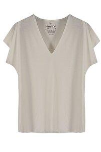 Vogue V Yaka Ekru Basic Viskon T-shirt