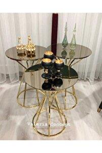 Gold Bronz Aynalı Sehpa