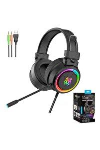 Profesyonel Oyuncu Kulaklığı Işıklı Rgb Kulak Üstü Mikrofonlu Kablolu Gaming V5