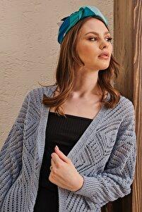 Kadın Mavi Ajurlu Mevsimlik Desenli Eteği Fırfırlı Yumuşak Dokulu Salaş Triko Hırka