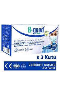 Cerrahi Maske Telli 50'li (üts Kayıtlı) 2 Kutu 3 Katlı 5'li Paketlenmiş