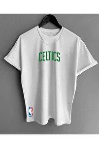 Erkek Beyaz Celtic Baskı Oversize Tshirt
