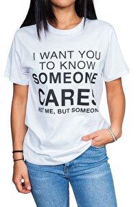 Kadın Beyaz Cares Yazılı T-shirt