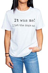 Kadın Beyaz Dogs Yazılı T-shirt