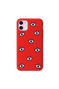 Iphone 11 Nazar Boncuklu Kırmızı Telefon Kılıfı