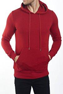 Erkek Kırmızı Uzun Kollu Kapüşonlu Sweatshirt