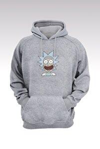 Rick And Morty 222 Gri Kapşonlu Sweatshirt - Hoodie