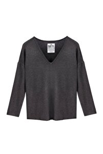Vogue W Antrasit V-yaka Basic Bluz/triko