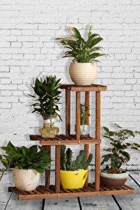 Kahverengi Saksı Standı Dekoratif Raf 3 Katlı Çiçeklik Balkon Organizer Ahşap Stand Saksı Sehpası
