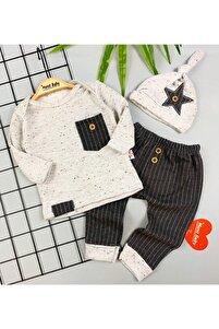 Erkek Bebek 3'lü Erkek Takım Alt Üst Şapka Seti