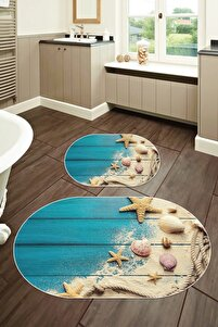 60x90 - 50x60 Dijital Baskılı Oval Banyo Paspası 2'li Set