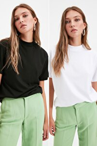 Beyaz ve Siyah Dik Yaka 2'li Paket Basic Örme T-Shirt TWOSS20TS1500