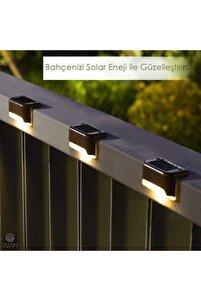 Solar Güneş Enerjili Şarj Edilen Köşebent Merdiven Veranda Bahçe Led Lamba Siyah (1adet)