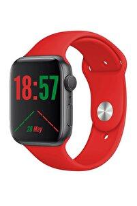 W26+ Watch 6 Plus Yeni Nesil Kırmızı Türkçe Akıllı Saat Son Sürüm Yan Tuş Aktif