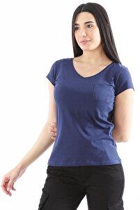 Kadın V Yaka Pamuklu Indigo T-shirt