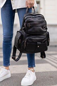 Yıkama Deri Kadın Sırt Çanta Siyah