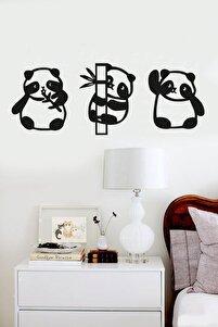 Panda 3lü Duvar Dekoru Siyah Ahşap Lazer Tablo