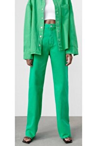 Yüksek Bel Bol Paça Yeşil Jean