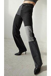 Kadın Antrasit Patchwork Jean