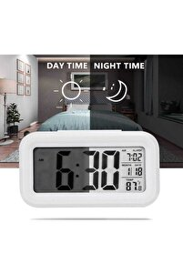 Lcd Işıklı Sensörlü Termometreli Alarmlı Dijital Masa Saati + Pil