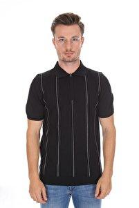 Polo Yaka Erkek Triko T-shirt Siyah  2117706