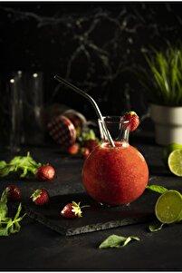 1 Adet Cam Pipetli Tombul Sunum Bardağı - Trend Meyve Suyu Ve Içecek Bardağı