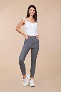 Kadın Gri Yüksek Bel Likralı Yazlık Jean