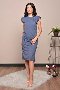 Kadın Petrol Mavi Vatkalı Basic Elbise