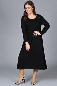 Kadın Siyah Taş Işlemeli Elbise