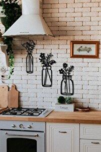 Ev Mutfak Dekorasyonu 3 'lü Vazo Set Ahşap Duvar Dekoratif Aksesuar