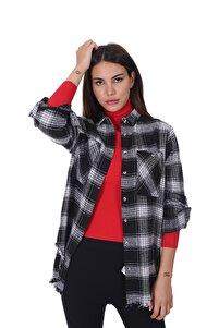 Kadın Ekoseli Oduncu Gömlek Siyah Beyaz 21w212111210