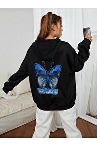 Kadın Siyah Oversize Kapşonlu Sweatshirt Butterfly Baskılı