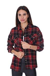 Kadın Ekoseli Oduncu Gömlek Kırmızı-siyah 21w212111204