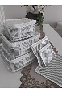 Vivyan 6'lı Set Bavul Içi Düzenleyici, Bavul Organizer, Valiz Düzenleyici - Gri Çizgili