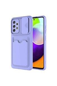 Galaxy A32 Kılıf Slayt Sürgülü Kamera Korumalı Kartlıklı Pastel Renkli Bonita Kapak
