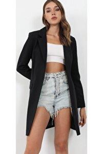 Astarlı Siyah Ince Uzun Ceket