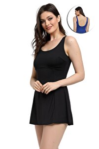 Kadın Siyah Likralı Şortlu Elbise Mayo
