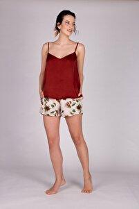 Kadın Kiremit Vegan Şortlu Pijama Takımı