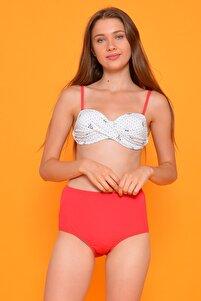 Kadın Kırmızı Full Lycra Art Design Yüksek Bel Bikini