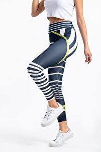 Kadın Lacivert Yüksek Bel Sporcu Tayt