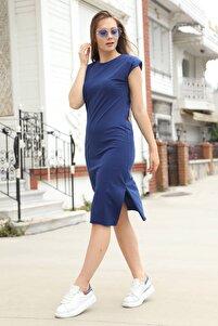 Kadın Lacivert Vatkalı Basic Elbise