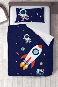 Lacivert Pamuk Saten Muhteşem Uzay Çocuk Odası Çocuk Nevresim Takımı