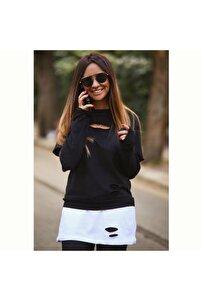 Kadın Lazer Yırtık Detay Iki Iplik Kumaş Tunik Bluz (72 Cm)