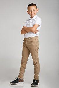 Spor Model Bej Likralı Canvas Okul Pantolon (Gizli Bel Lastikli)