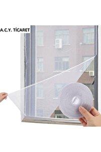 100*150 Cm Hazır Pencere Sinekliği 4 Mt Bant Hediye Tak Çıkar Tül Kesilebilir Cırt Bantlı