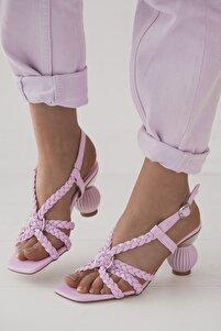 Kadın  Lila Tevno Mat Deri Örgü Biye Detaylı Yüksek Topuklu Ayakkabı