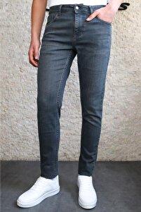Erkek Taşlamalı Antrasit Slim Fit Pantolon Hlt HE001935