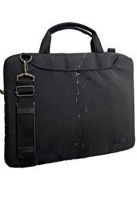 Siyah Su Geçirmez Kumaş Su Geçirmez Fermuar Detaylı 15-15,6inch Uyumlu Unisex Laptop Evrak Çantası